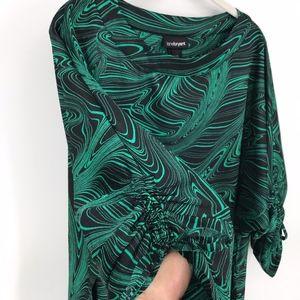 Green and Black Swirl Design Tunic Dress